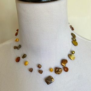 Jewelry - Bronze freshwater pearl illusion necklace